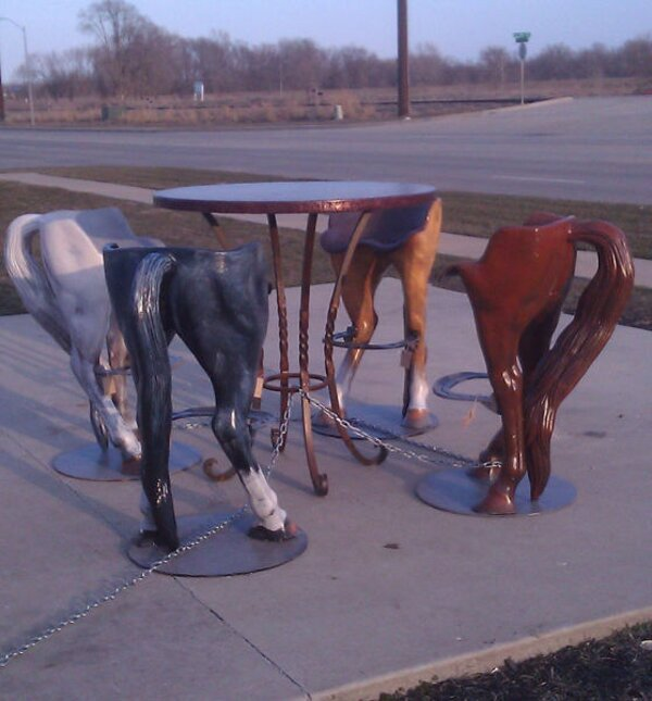Funny Photo Of The Day   Horse Behind Chairs